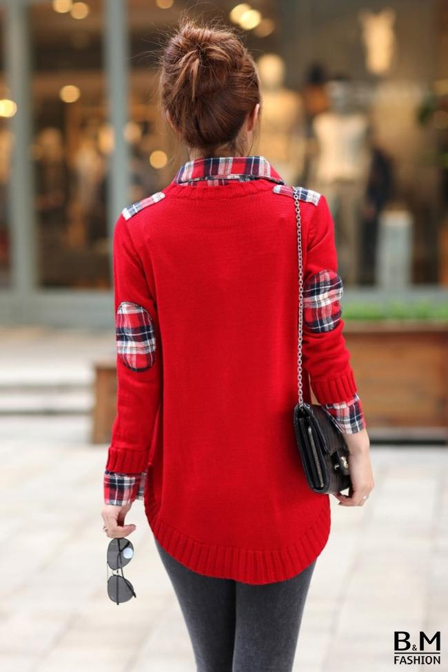 Áo len nữ cổ sơ mi đỏ