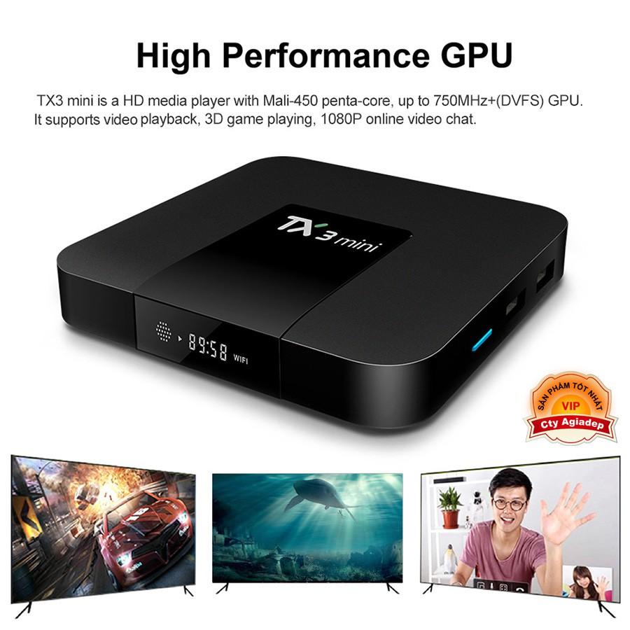 Android Tivi Box TX3 mini - 2G Ram và 16G bộ nhớ, Bluetooth, AndroidTV 9, MyK+  Cao Cấp