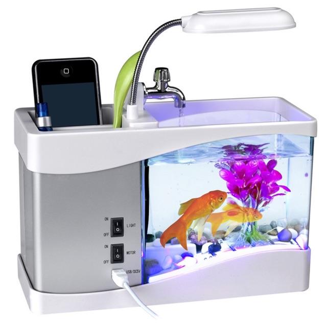 Bể Cá Mini + Đồng Hồ + Đèn Bàn + Sỏi, Cây Thủy Sinh