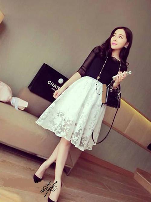 Chân Váy Ren Hoa Hàn Quốc