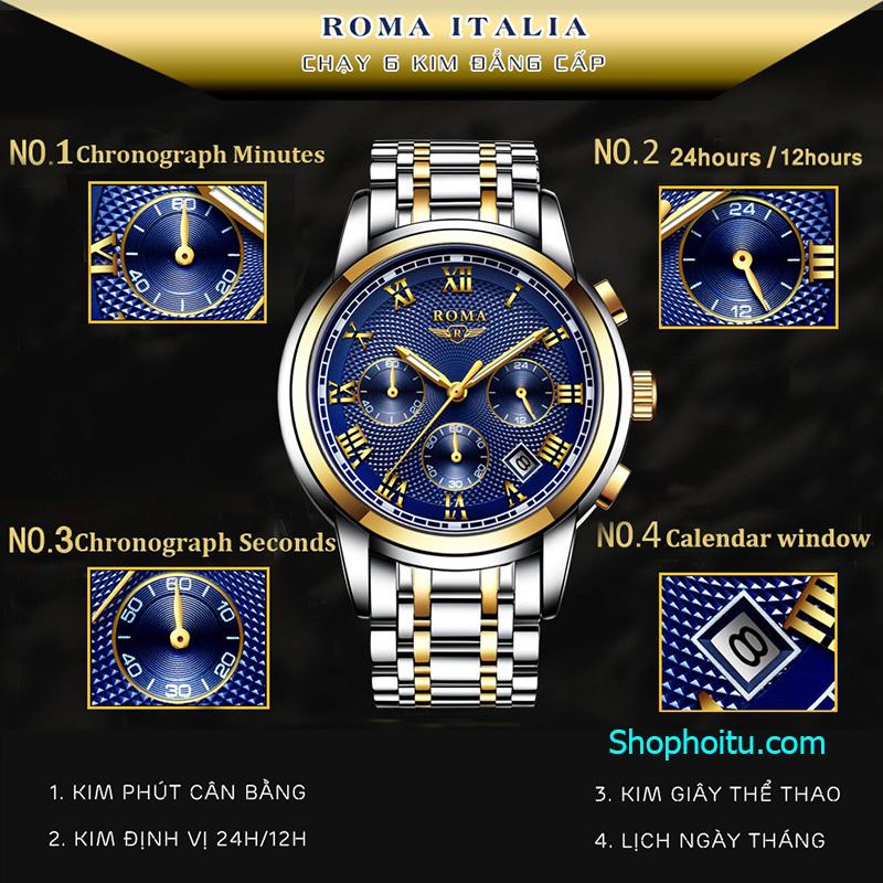 Đồng Hồ Nam ROMA ITALY Kính Tráng SAPPHIRE Full Kim – Dây Thép Đúc Đặc Cao Cấp