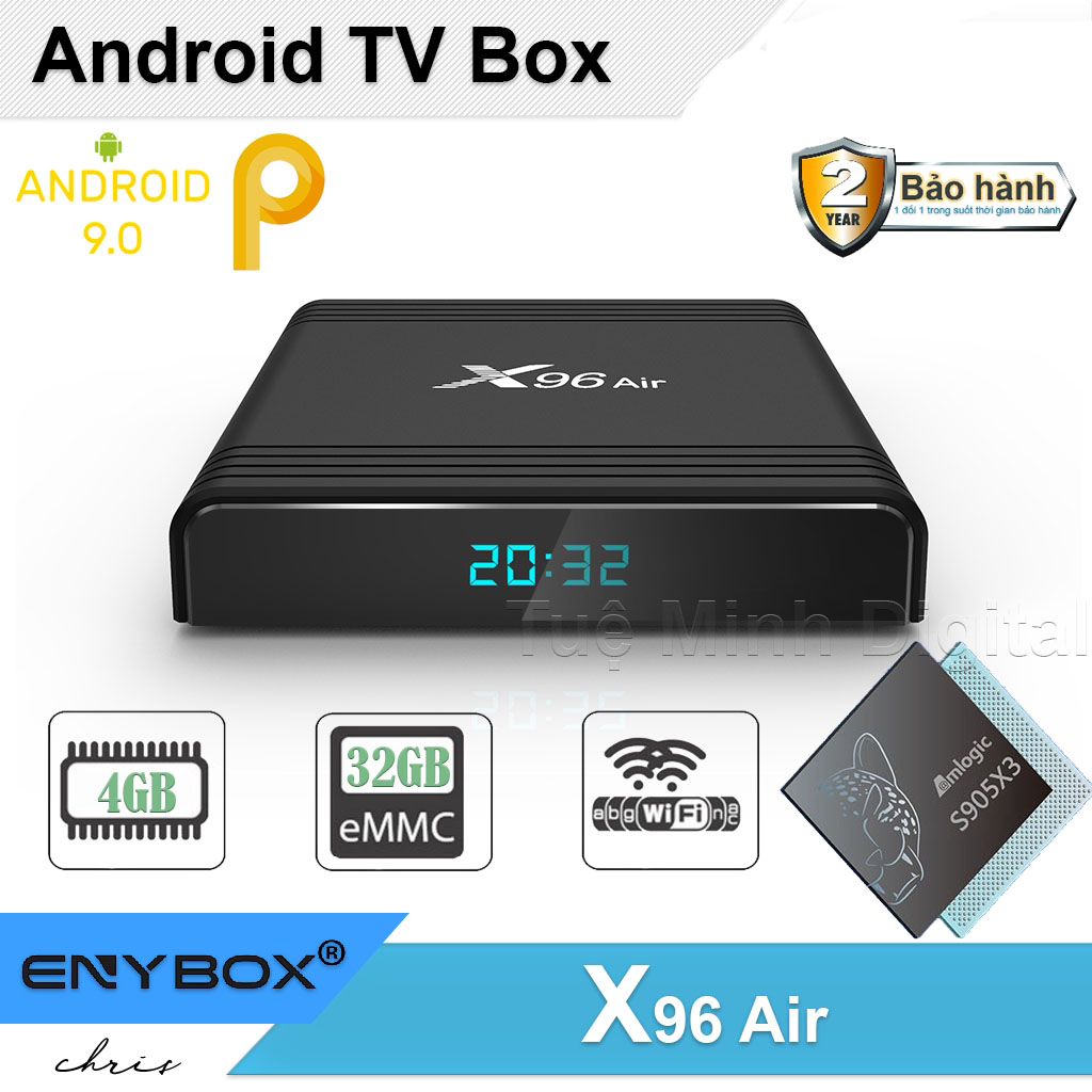 Android TV Box X96 Air - Amlogic S905X3, 4GB Ram, 32GB bộ nhớ trong, Android 9 Cao Cấp