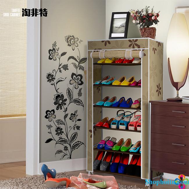 Tủ đa năng 6 tầng bọc vải đựng quần áo, giày dép