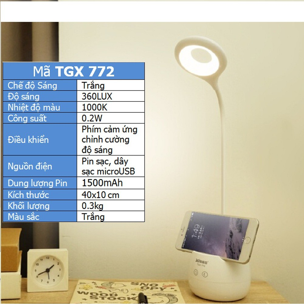 Đèn Bàn Chống Cận Sạc Điện,Có Giá Để Điện Thoại Cổng Sạc USB TGX-772