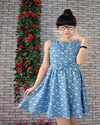Váy nữ  liền eo lơ xanh đẹp