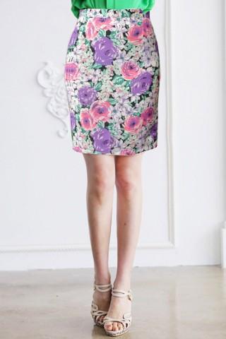 Chân váy bút chì họa tiết hoa