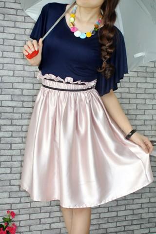 Áo tím than chân váy hồng nhạt