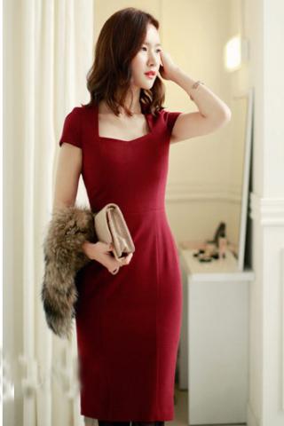 Đầm đỏ đô thanh lịch