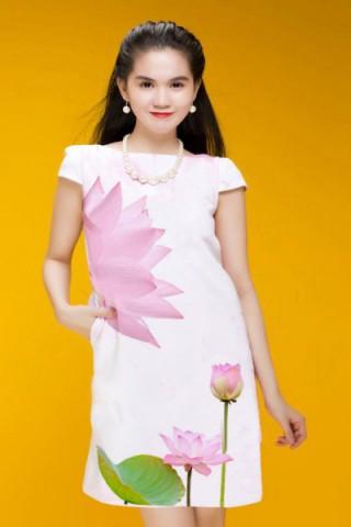 Váy liền thân công sở họa tiết