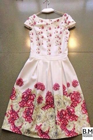 Váy tùng xòe hoa Tử Đinh đẹp