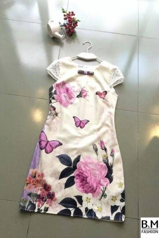 Váy suông tay sen họa tiết bướm hoa