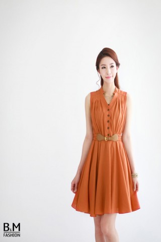 Đầm dáng xòe thắt lưng Vintage
