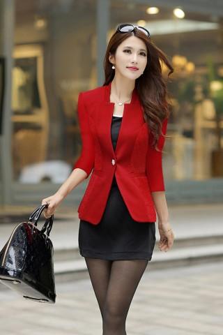 Áo khoác dài tay hoa văn eo