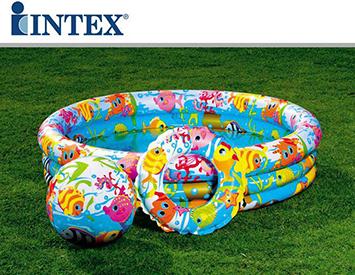 Bộ bể 1m32 + bóng + phao Intex 59469