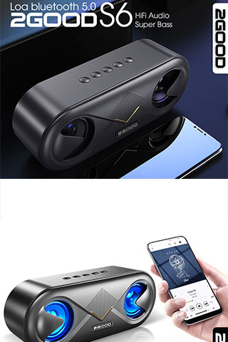 Loa Bluetooth 5.0 2GOOD S6, Extra Bass, Led Gaming Cao Cấp