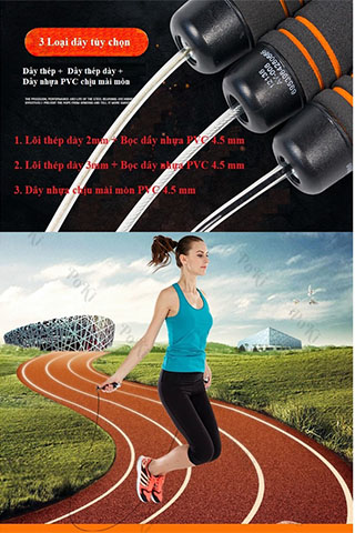 Dây nhảy thể dục TS-02 lõi PVC, dây tập 2 lớp dày 4.5mm bền nhẹ cao cấp
