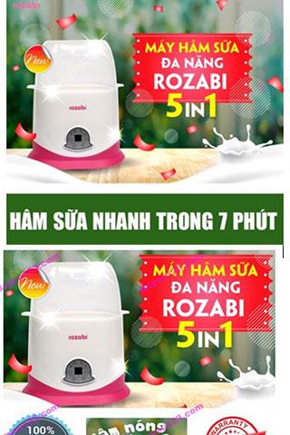 Máy hâm sữa tiệt trùng  5 chức năng ROZABI tiện lợi