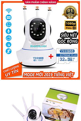 Camera Ip YooSee 3 Râu Full HD 2.0Mpx 1080p Tiếng Việt Kèm Thẻ Nhớ Cao Cấp