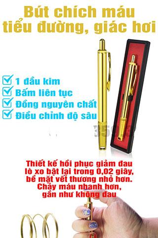 Bút Chích Máu Tiểu Đường Giác Hơi 1 Đầu Kim Cao Cấp