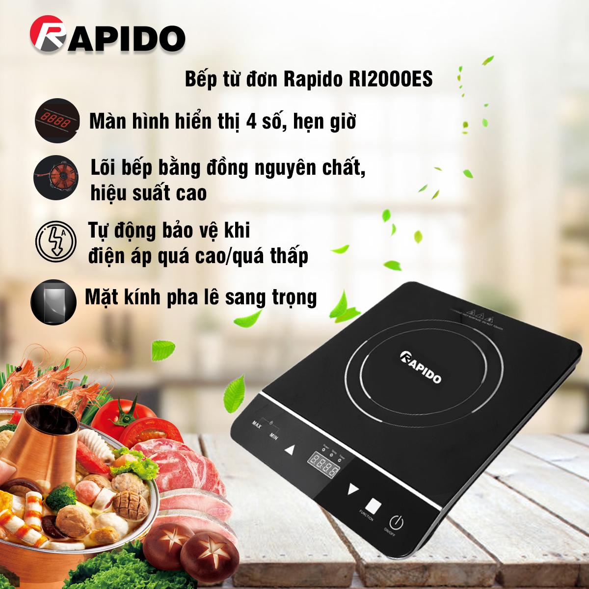 BẾP TỪ ĐƠN RAPIDO RI2000EC Chính hãng Cao Cấp
