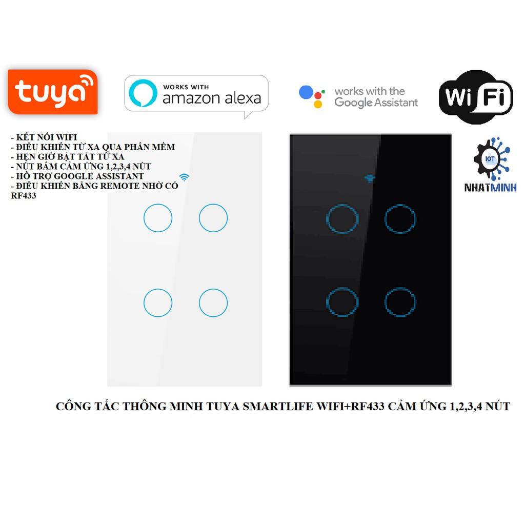 CÔNG TẮC TUYA WIFI + RF433 4 NÚT CHỮ NHẬT CẢM ỨNG Cao Cấp