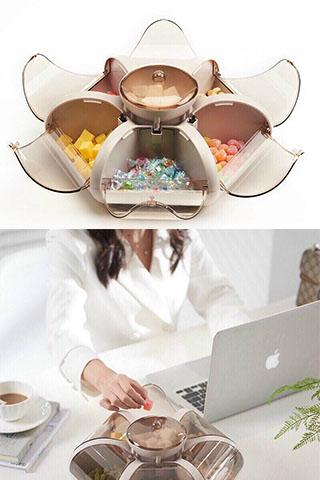 Khay Mứt, Khay Đựng Bánh Kẹo 6 Cánh Hoa Tự Bung