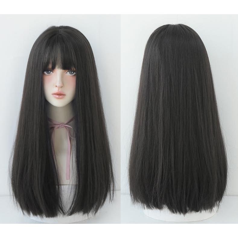 Tóc giả nguyên đầu thẳng dài 45cm Hot