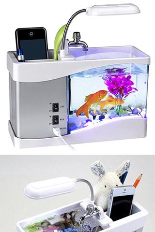 Bể Cá Mini + Đồng Hồ + Đèn Bàn + Sỏi, Cây Thủy Sinh Cao Cấp