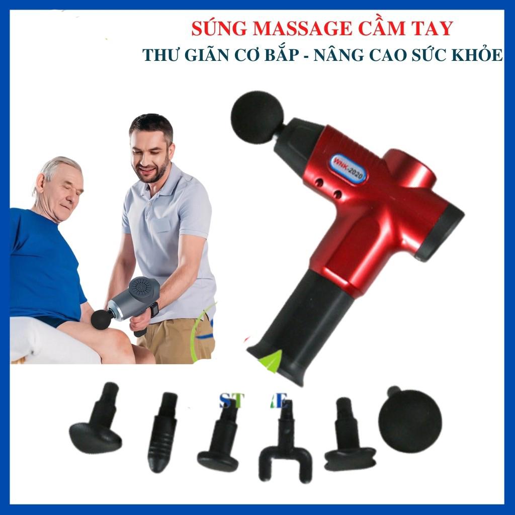 Súng massage cầm tay WNK 6 đầu trị liệu Cao Cấp