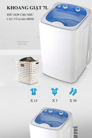 Máy giặt mini bán tự động Dung tích 7L Cao Cấp