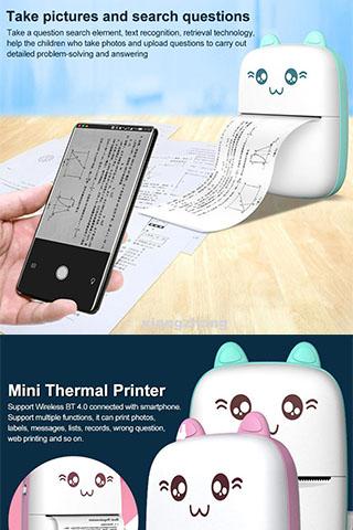 Máy in nhiệt mini cầm tay 200dpi HD Tiện lợi (Có bán lẻ giấy in)