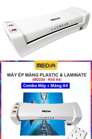 Máy Ép Nhựa Dẻo, Máy Ép Màng Plastic Media MD230 Khổ Ép A4 + Màn Ép A4 100 Tờ